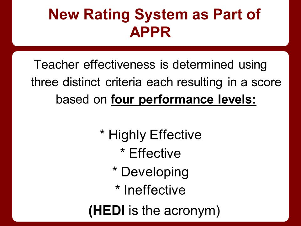 New Rating System as Part of APPR