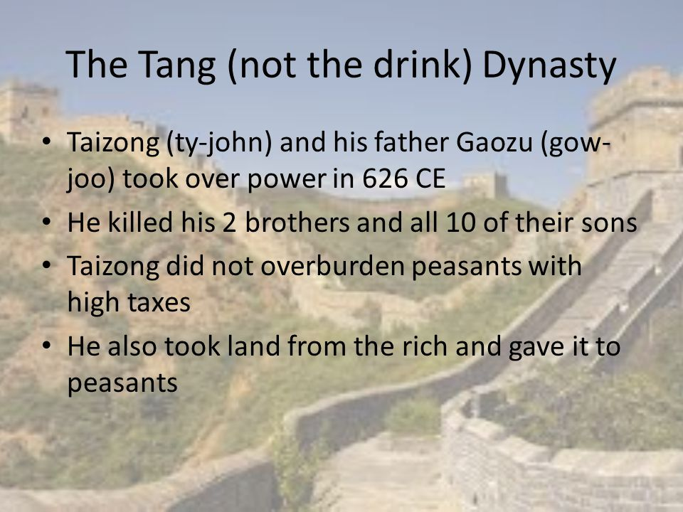 The Tang (not the drink) Dynasty