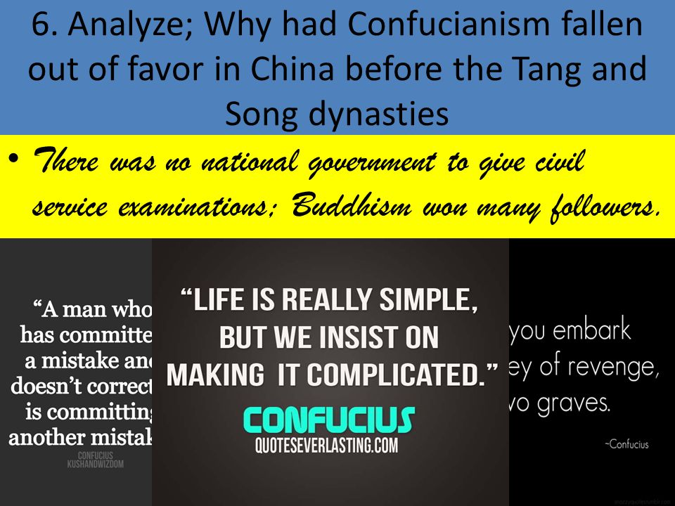 6. Analyze; Why had Confucianism fallen out of favor in China before the Tang and Song dynasties