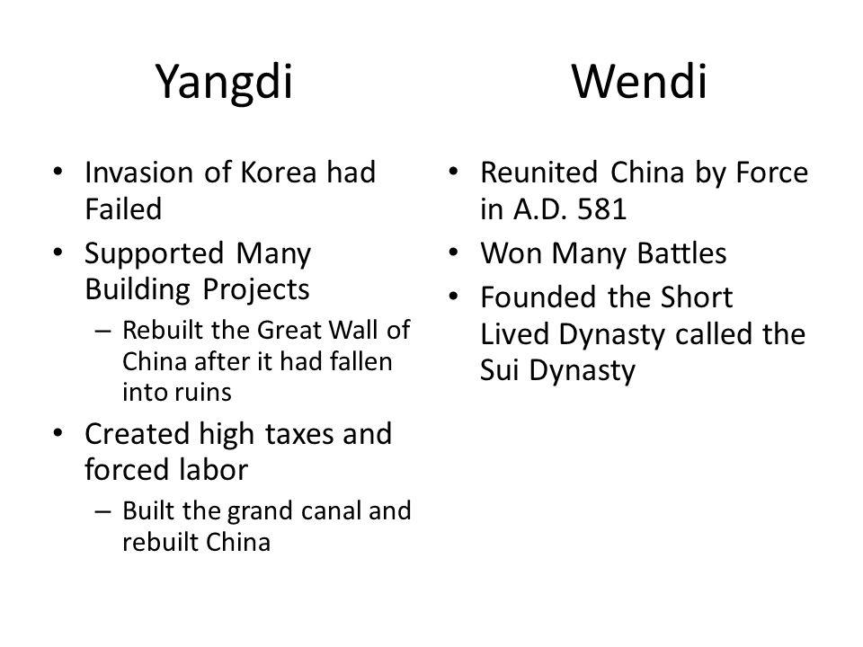 Yangdi Wendi Invasion of Korea had Failed