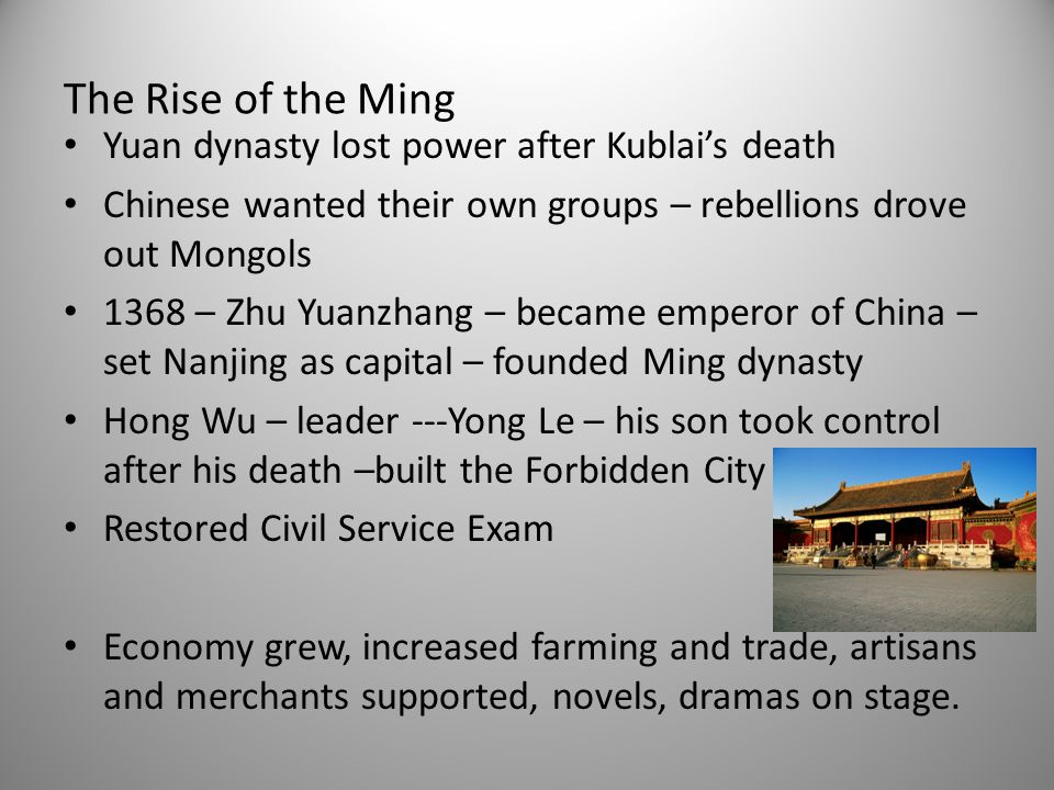 The Rise of the Ming Yuan dynasty lost power after Kublai's death