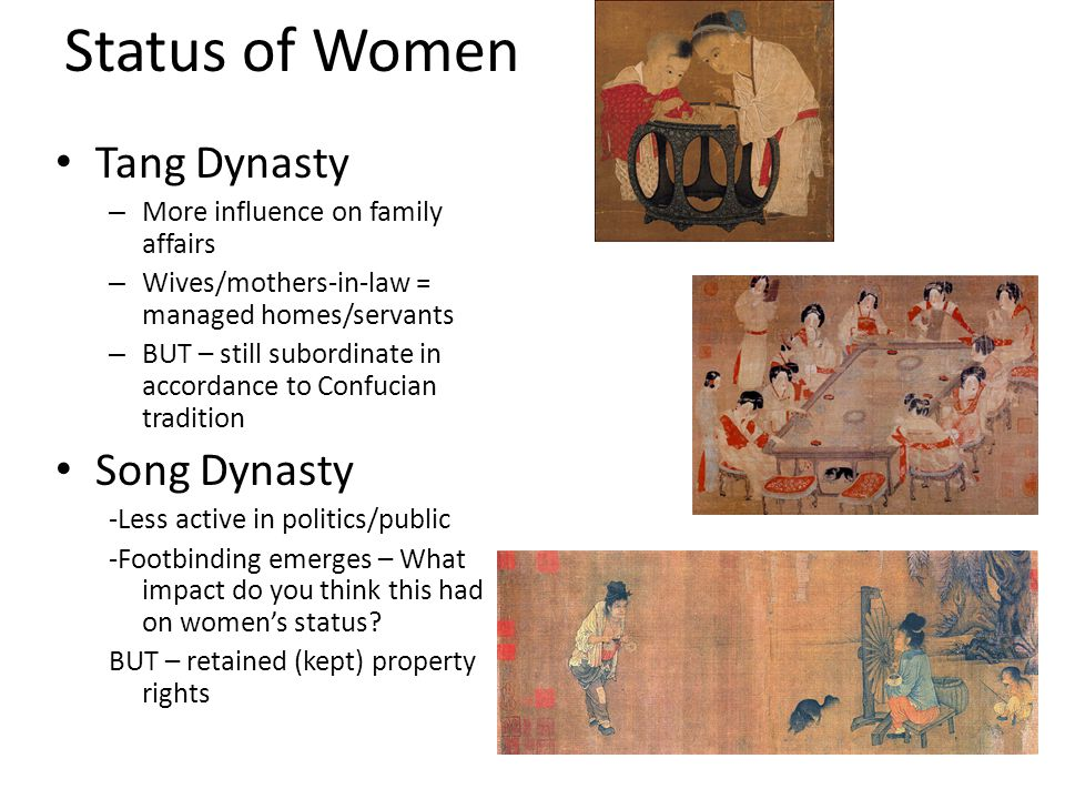 Status of Women Tang Dynasty Song Dynasty