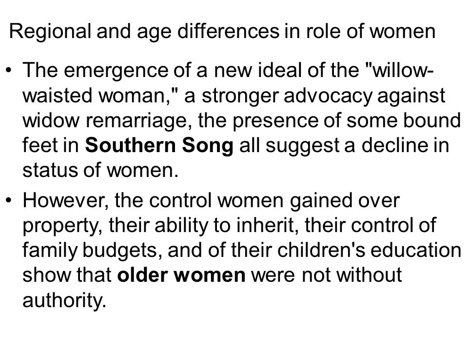 Regional and age differences in role of women
