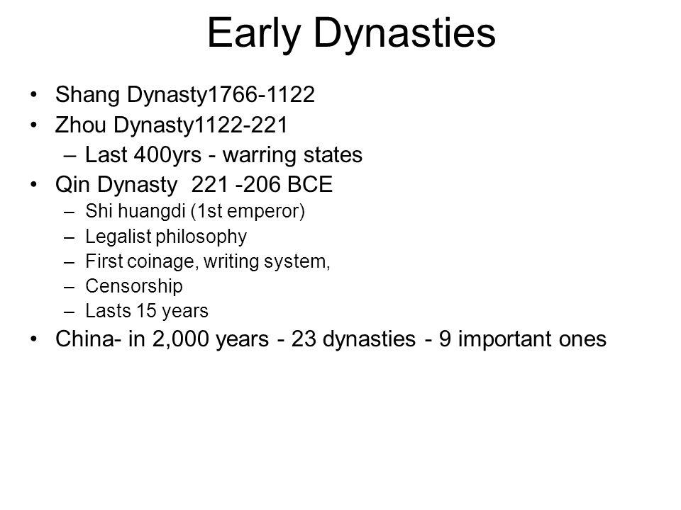 Early Dynasties Shang Dynasty1766-1122 Zhou Dynasty1122-221