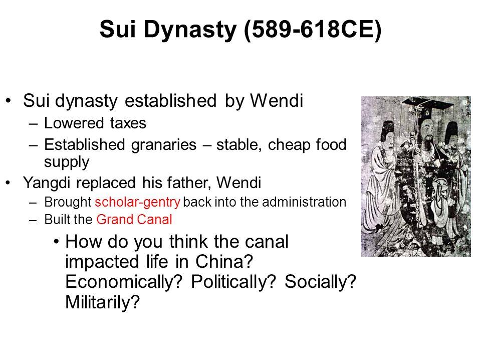 Sui Dynasty (589-618CE) Sui dynasty established by Wendi