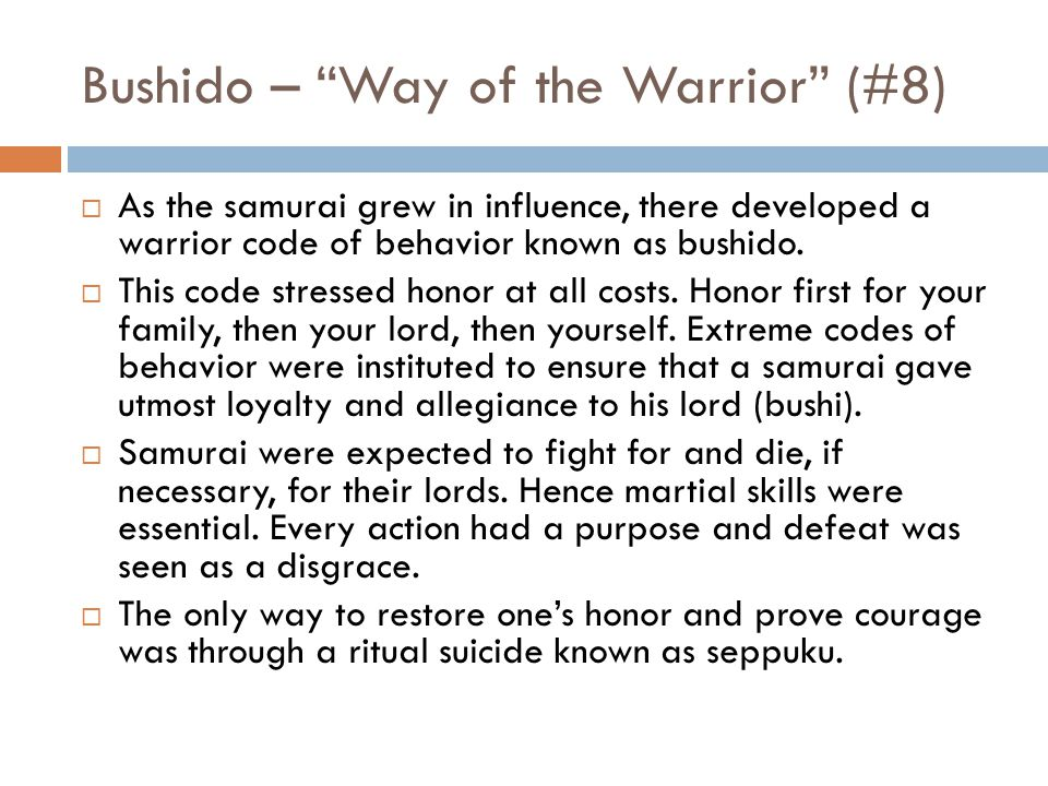 Bushido – Way of the Warrior (#8)