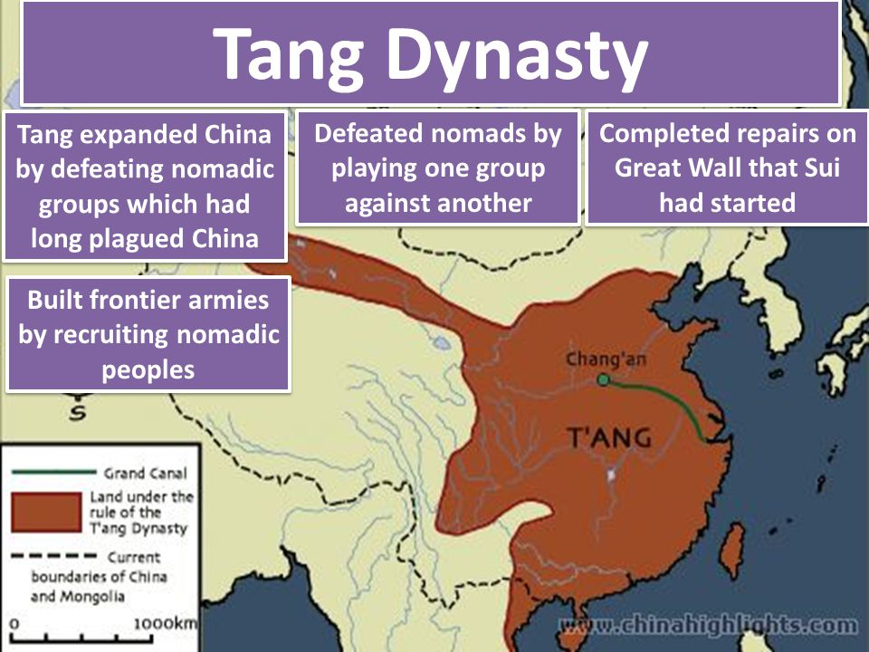 Tang Dynasty Tang expanded China by defeating nomadic groups which had long plagued China. Defeated nomads by playing one group against another.