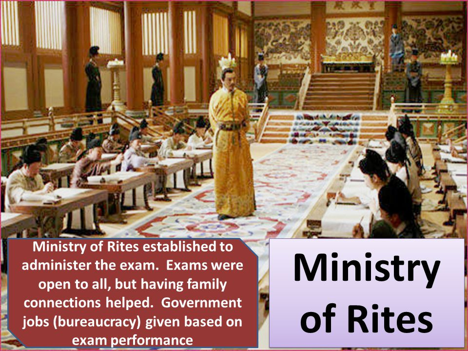 Ministry of Rites established to administer the exam