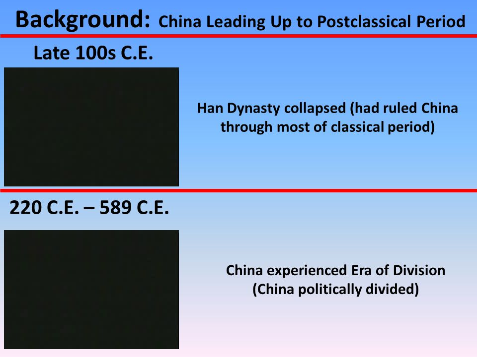 Background: China Leading Up to Postclassical Period