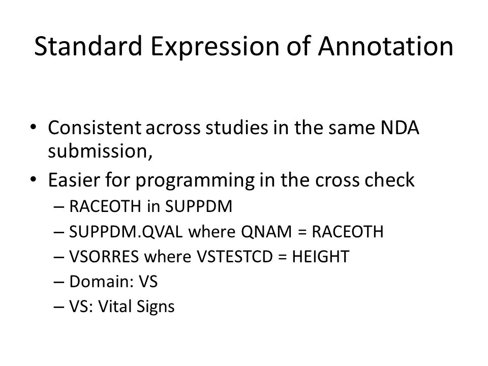 Standard Expression of Annotation