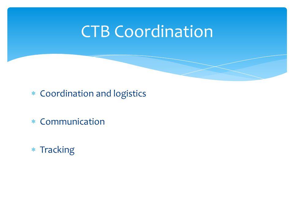 CTB Coordination Coordination and logistics Communication Tracking