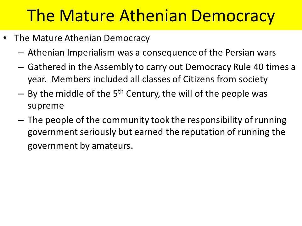 The Mature Athenian Democracy