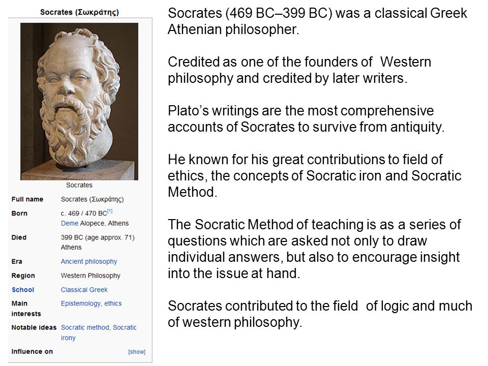 Socrates (469 BC–399 BC) was a classical Greek Athenian philosopher.
