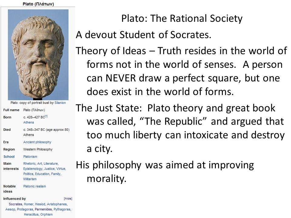 Plato: The Rational Society A devout Student of Socrates