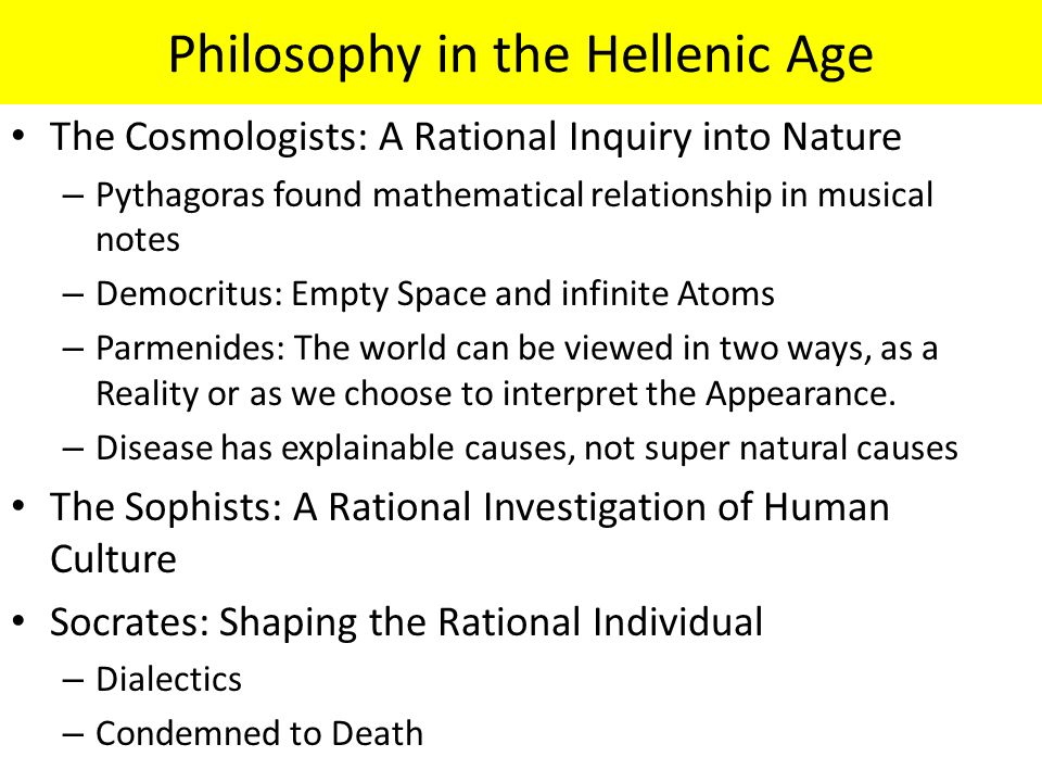 Philosophy in the Hellenic Age