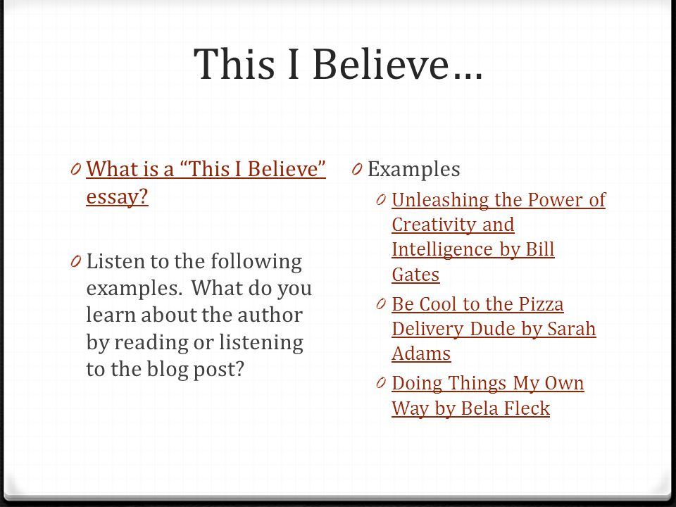 This I Believe… What is a This I Believe essay