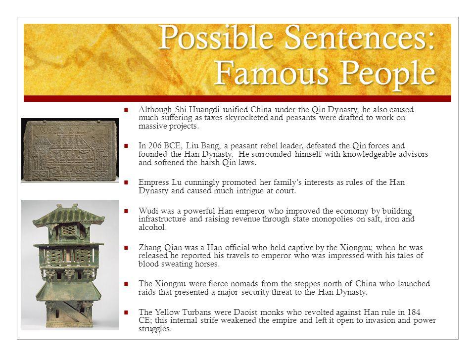 Possible Sentences: Famous People