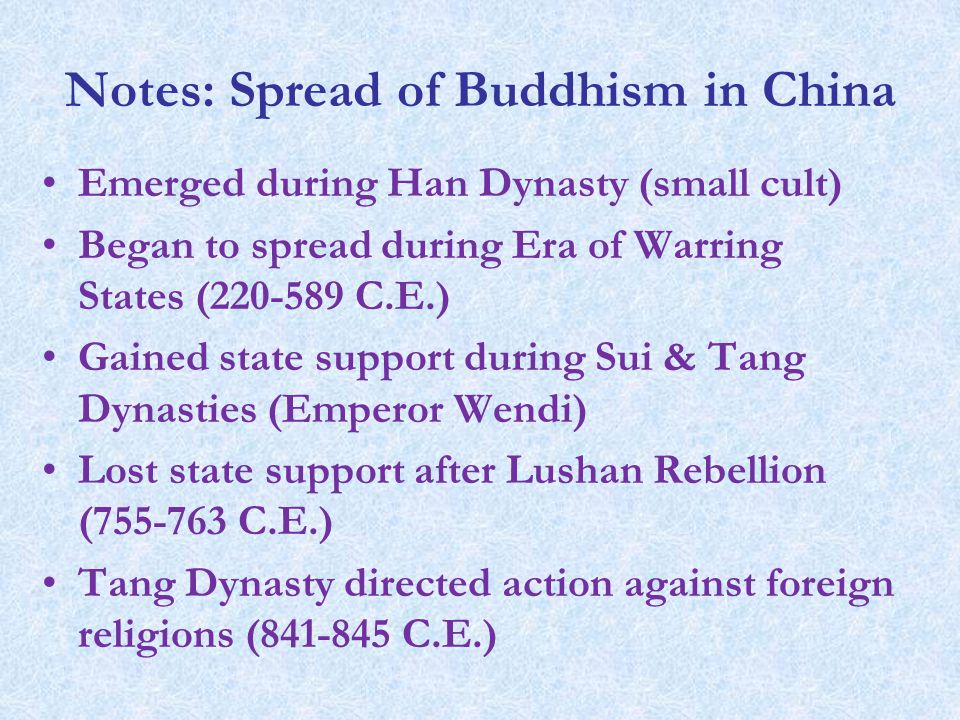 spread of buddhism in china dbq Spread to china it did not exist here in ancient times  buddhism has spread to all the nine provinces of china each day finds its monks and followers growing more numerous and its temples more lofty buddhism wears out the people's strength, pilfers their wealth, causes people to abandon their lords and parents for the.