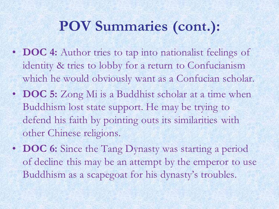 POV Summaries (cont.):