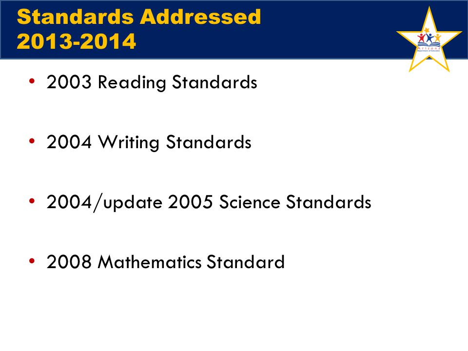 2004/update 2005 Science Standards 2008 Mathematics Standard