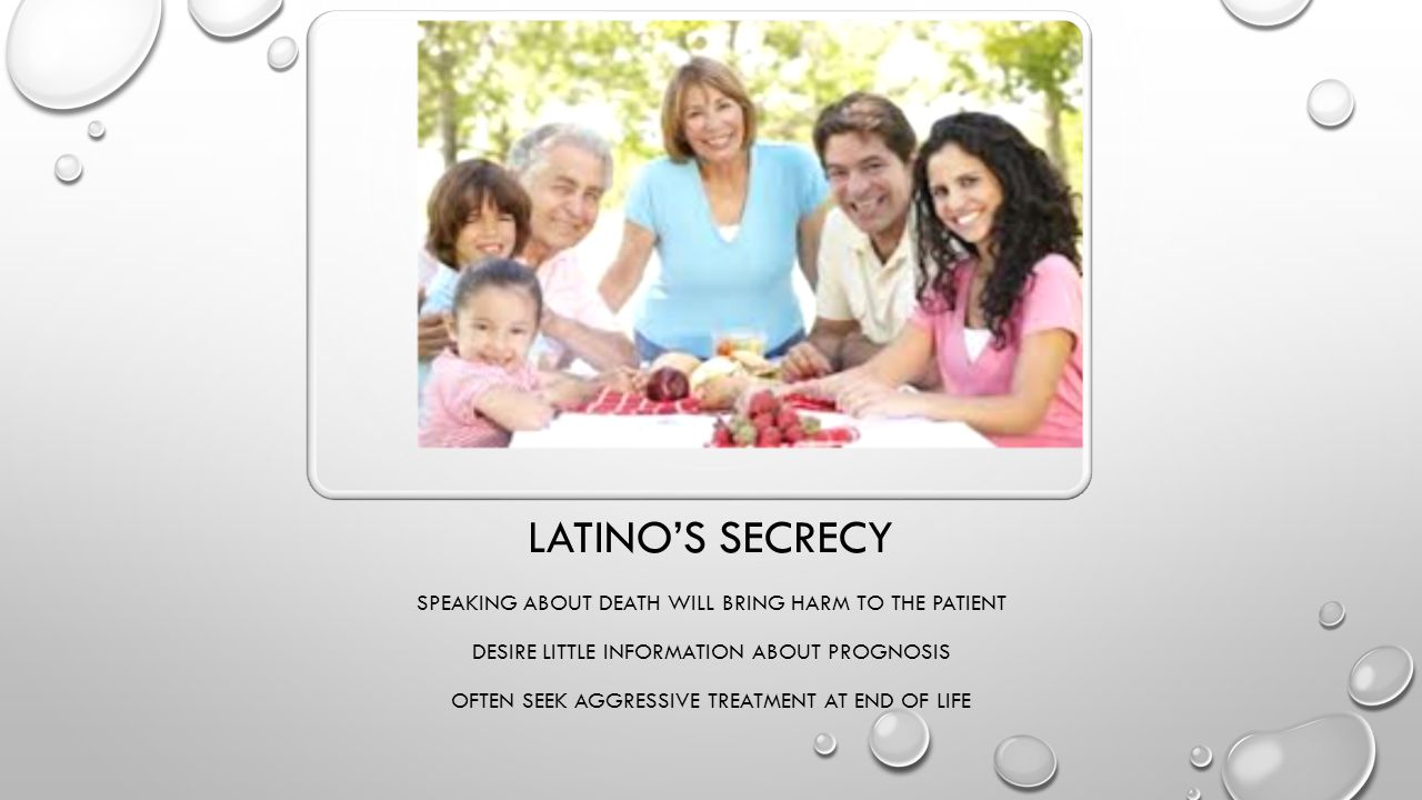 Latino's secrecy Speaking about death will bring harm to the patient