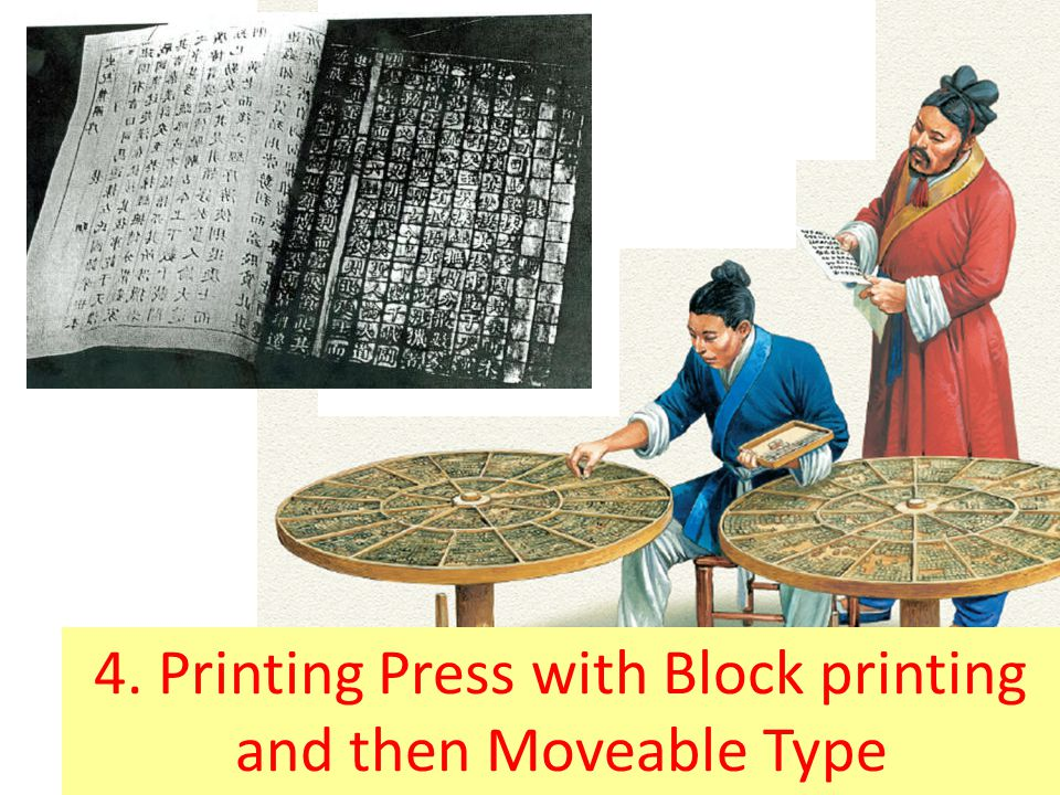 4. Printing Press with Block printing and then Moveable Type