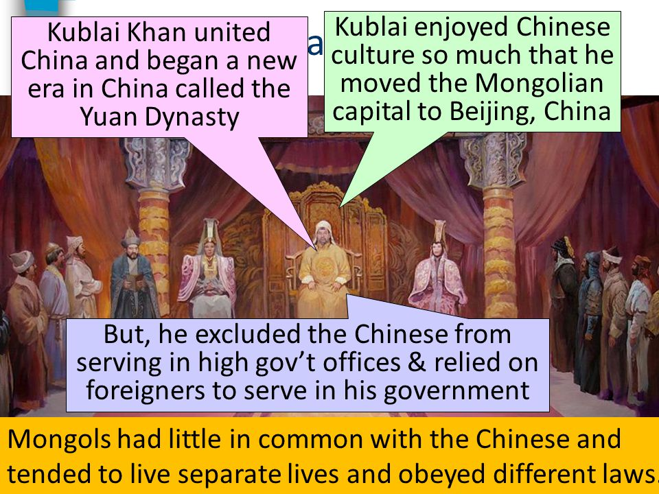 Kublai Khan Kublai enjoyed Chinese culture so much that he moved the Mongolian capital to Beijing, China.