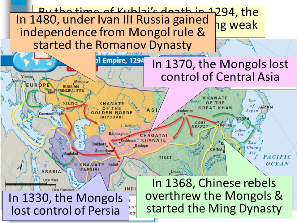 In 1370, the Mongols lost control of Central Asia