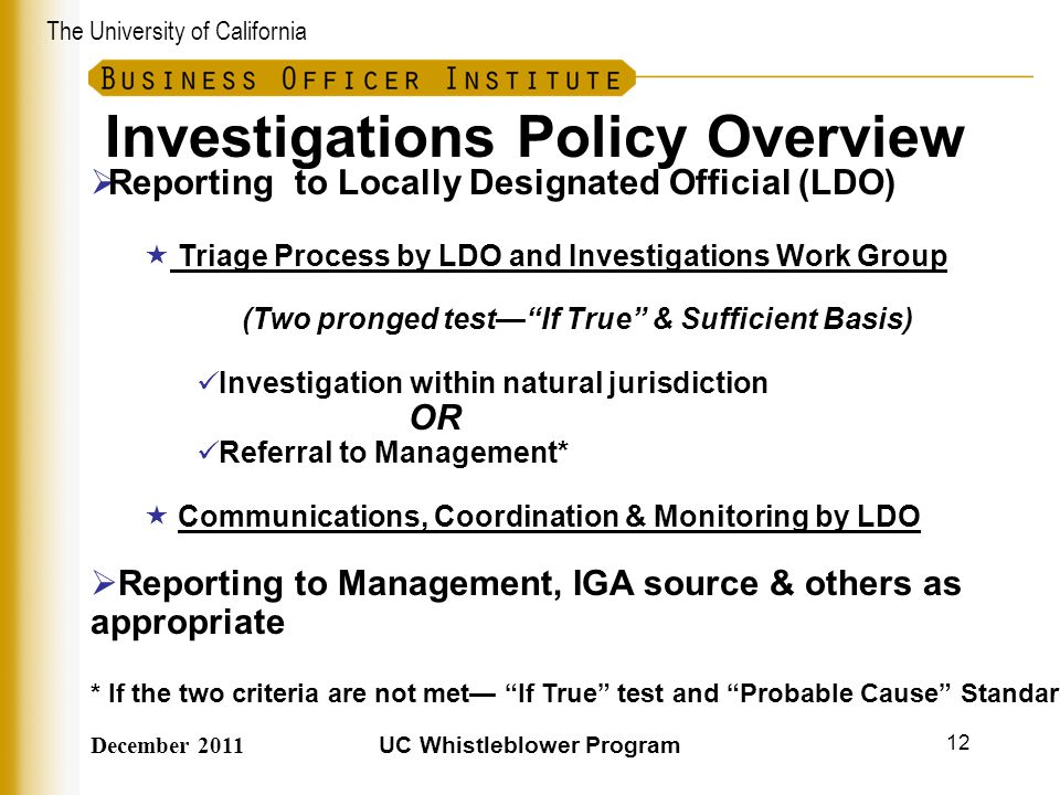 Investigations Policy Overview