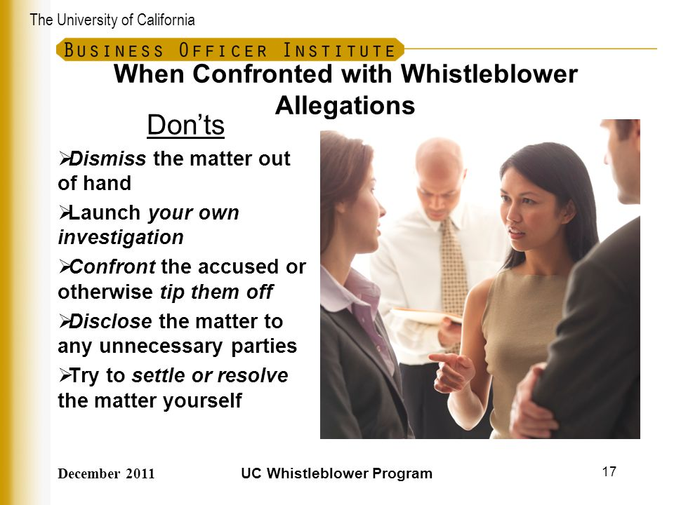 When Confronted with Whistleblower Allegations