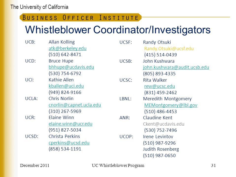 Whistleblower Coordinator/Investigators
