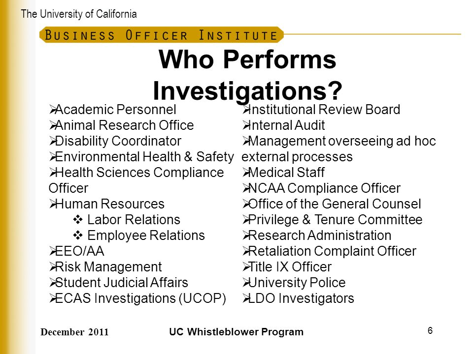 Who Performs Investigations