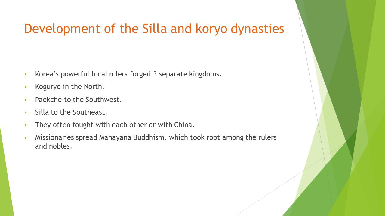 Development of the Silla and koryo dynasties