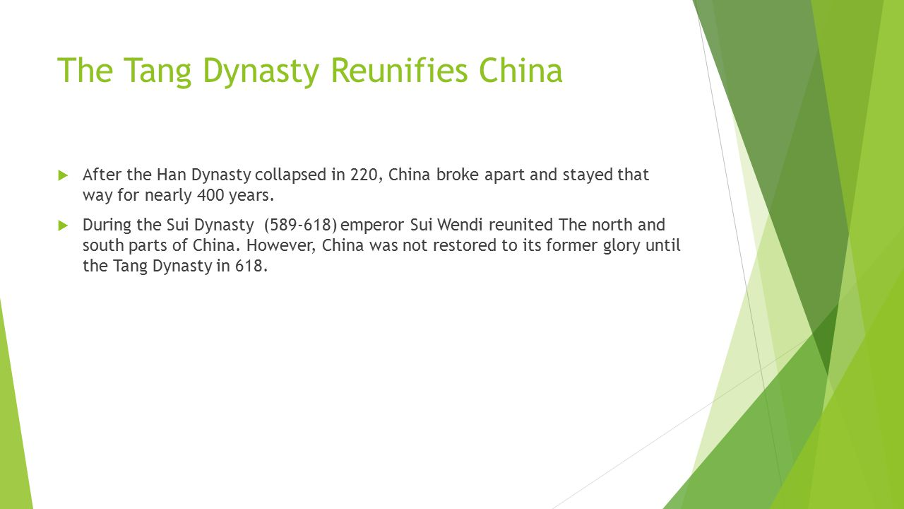 The Tang Dynasty Reunifies China