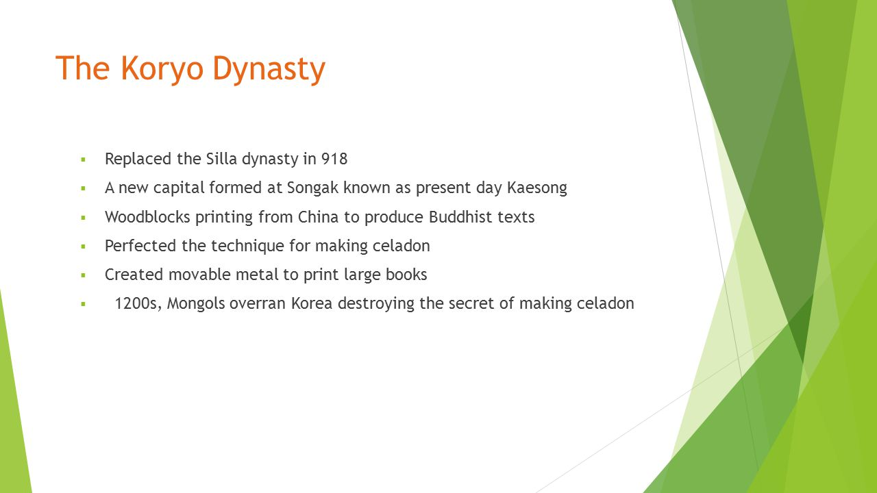 The Koryo Dynasty Replaced the Silla dynasty in 918