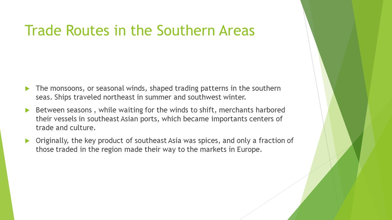 Trade Routes in the Southern Areas
