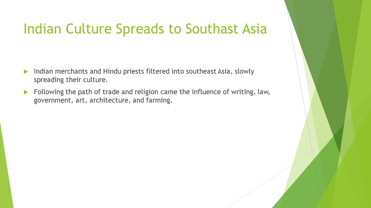 Indian Culture Spreads to Southast Asia