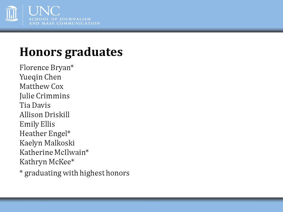 Honors graduates Florence Bryan* Yueqin Chen Matthew Cox