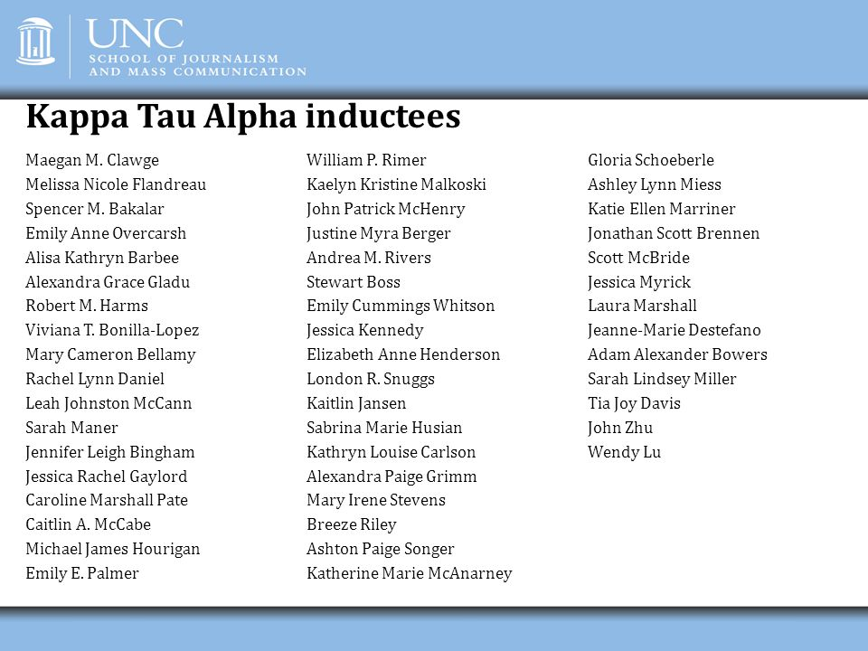 Kappa Tau Alpha inductees