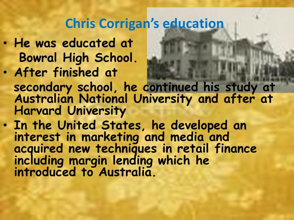 Chris Corrigan's education