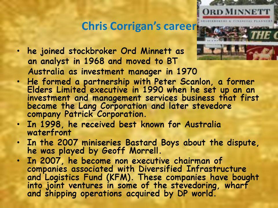 Chris Corrigan's career