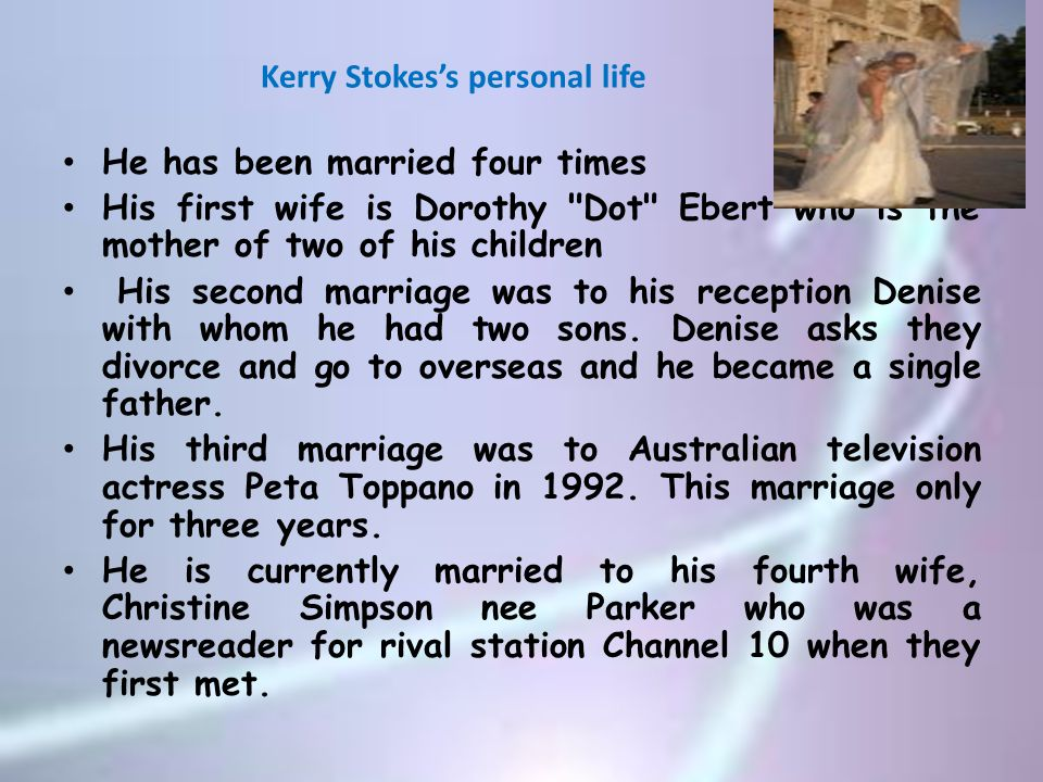 Kerry Stokes's personal life