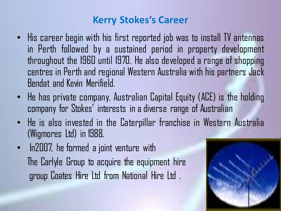 Kerry Stokes's Career