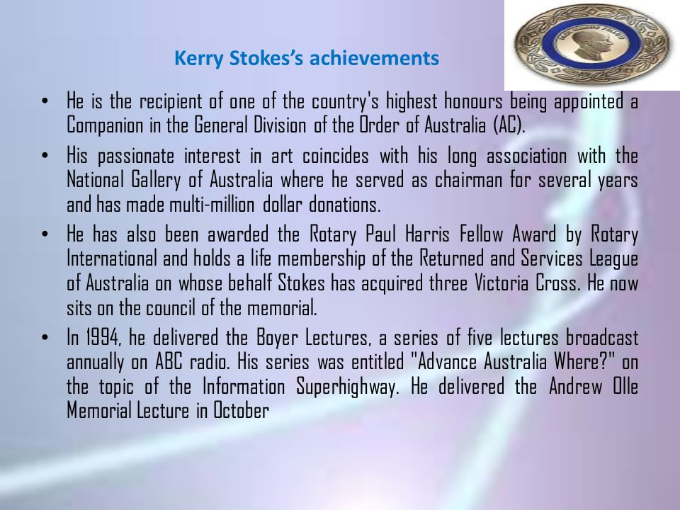 Kerry Stokes's achievements