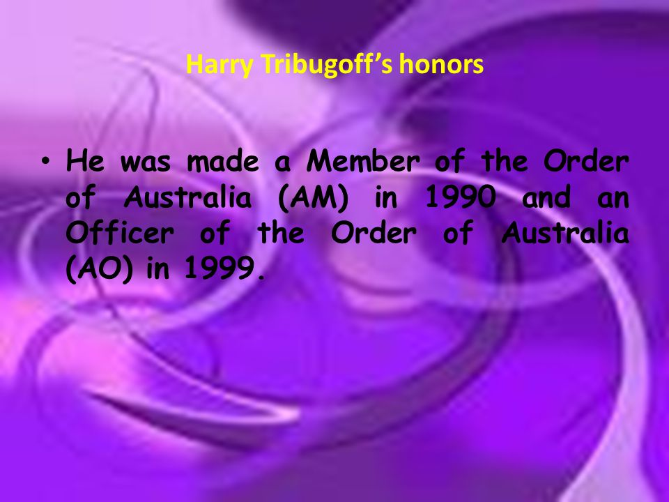 Harry Tribugoff's honors