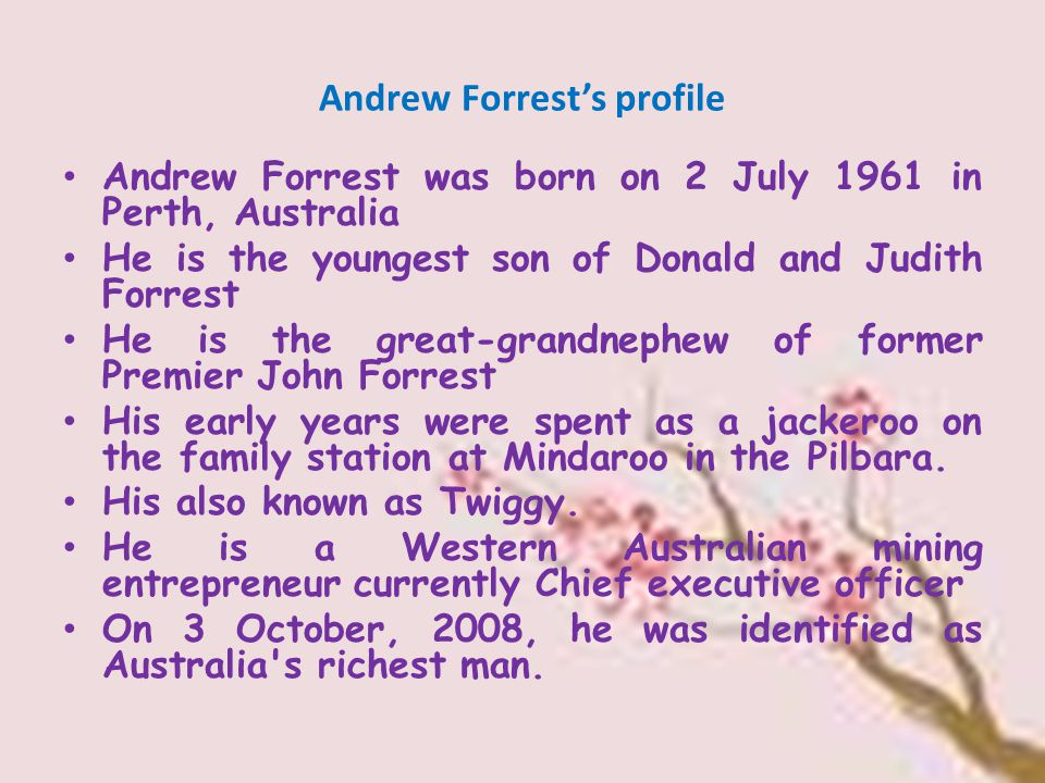 Andrew Forrest's profile