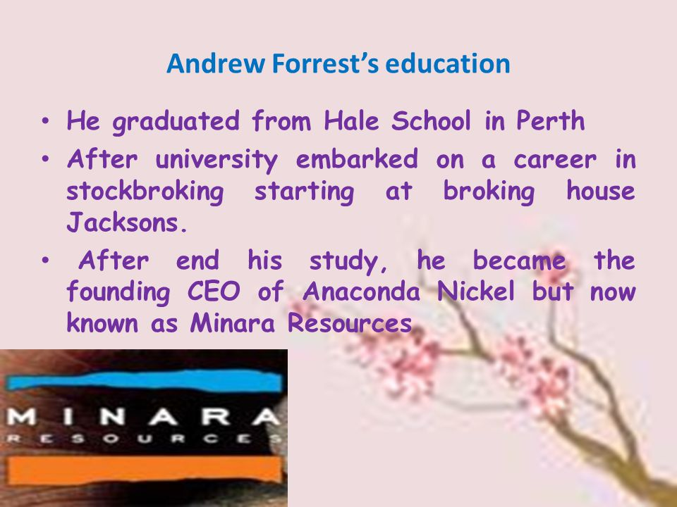 Andrew Forrest's education