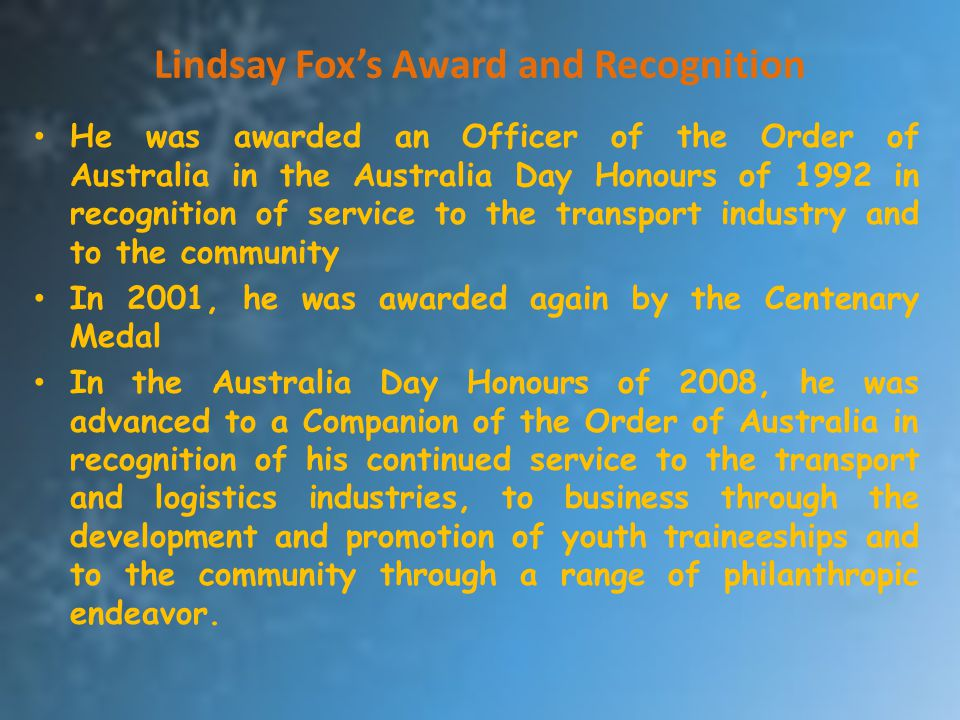 Lindsay Fox's Award and Recognition