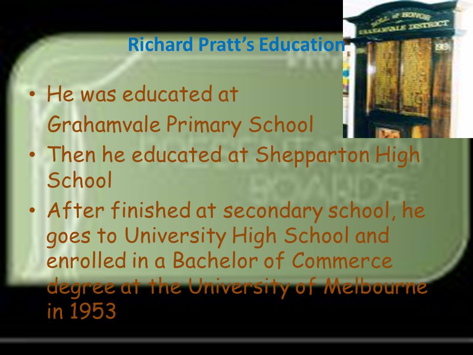 Richard Pratt's Education