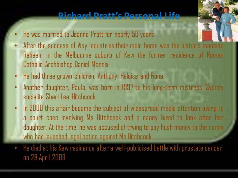 Richard Pratt's Personal Life
